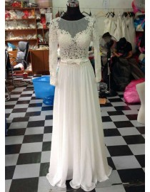 Awesome sheer long sleeves lace appliques backless back chiffon floor length wedding dress LW-162