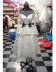 Gorgeous jewel neckline sheer sleeves with peplum tea length lace wedding dresses with black embellishment LW-166