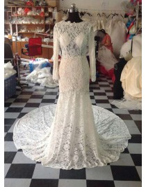 Awesome sheer lace appliques long sleeves backless court train wedding dress LW-172