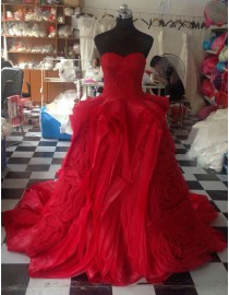 Awesome sweetheart lace appliques red tailored symmetrical puffy skirt sweeping train prom dress LW-145