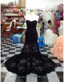 Gorgeous sweetheart black lace appliques swarovski beaded front slit sheer skirt court train prom dress LW-149