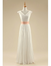 Awesome bohemian chiffon wedding dresses capped satin sash 5W-266