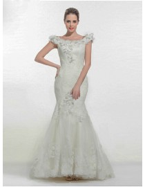 Awesome off shoulder lace wedding dresses floral embellishment mermaid  5W-259