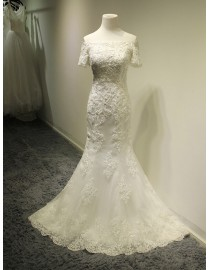 Gorgeous off shoulder half sleeves lace sheath wedding dresses sequins beaded 5W-307