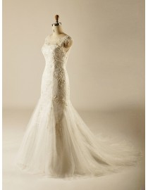 Awesome jewel neckline lace appliques trumpet wedding dresses pearls beaded sweeping train  5W-324