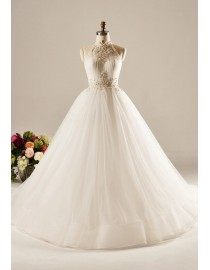 Awesome halter A-line wedding dresses pearls swarovski beaded sweeping train 5W-337