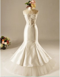Gorgeous fit and flare wedding dresses lace appliques beaded illusion waistline  5W-341