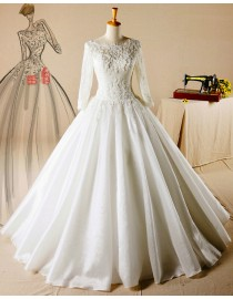 Gorgeous long sleeves lace A-line wedding dresses sequins beaded illusion back 5W-344