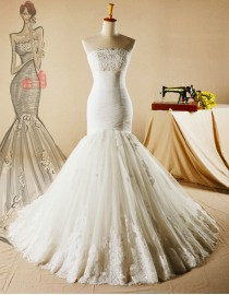 Gorgeous strapless bodice fit and flare lace wedding dresses pleats dropped waist lace hem 5W-346