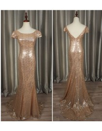 Gorgeous pale pink gold sparkly sequins prom bridesmaid dresses SB-003