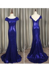 Gorgeous royal blue gold sparkly sequins prom bridesmaid dresses SB-004