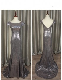 Gorgeous Gray gold sparkly sequins prom bridesmaid dresses SB-005