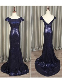 Gorgeous navy blue gold sparkly sequins prom bridesmaid dresses SB-006