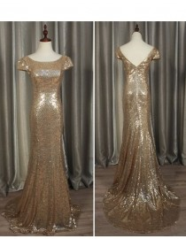 Gorgeous rose champagne gold sparkly sequins prom bridesmaid dresses SB-008