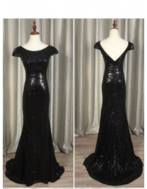 Gorgeous black gold sparkly sequins prom bridesmaid dresses SB-009