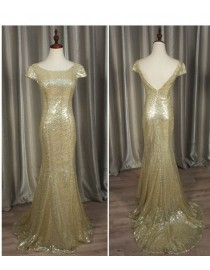 Gorgeous champagne gold sparkly sequins prom bridesmaid dresses SB-010