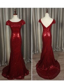 Gorgeous burgundy red gold sparkly sequins prom bridesmaid dresses SB-011