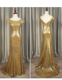 Gorgeous gold sparkly sequins prom bridesmaid dresses SB-012