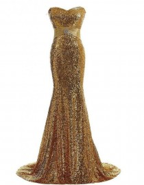 Gorgeous sweetheart gold sparkly sequins prom bridesmaid dresses SB-001