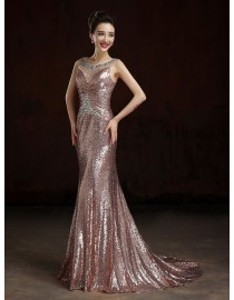 Gorgeous sweetheart gold rose pink sparkly sequins prom bridesmaid dresses SB-013