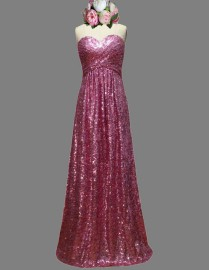 Gorgeous sweetheart fuchsia sparkly sequins bridesmaid dresses SB-025