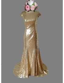 Gorgeous capped champagne gold sparkly sequins bridesmaid dresses SB-029