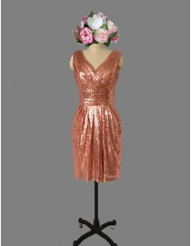 Gorgeous v-neck rose gold color sparkly sequins short bridesmaid dresses SB-030