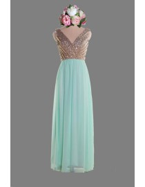 Gorgeous v-neck rose gold sparkly sequins upper teal skirt bridesmaid dresses SB-037