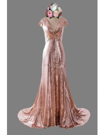 Gorgeous v-neck capped rose gold color sparkly sequins bridesmaid dresses SB-034