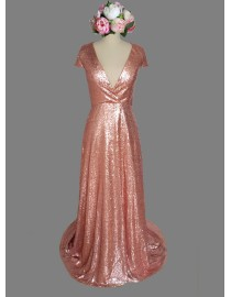 Gorgeous v-neck capped rose gold color sparkly sequins bridesmaid dresses SB-035