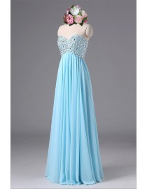 Gorgeous sweetheart empire rhinestone beaded sparkly sequins sky blue prom bridesmaid dresses SB-041
