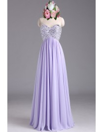 Gorgeous sweetheart empire rhinestone beaded sparkly sequins lilac chiffon prom bridesmaid dresses SB-041