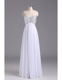 Gorgeous sweetheart empire rhinestone beaded sparkly sequins white chiffon prom bridesmaid dresses SB-041-4