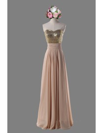 Gorgeous sweetheart gold sparkly sequins beaded peach prom bridesmaid dresses SB-042
