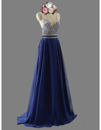 Gorgeous Sexy v-neck straps rhinestones sequins beads beaded accent navy blue prom dresses cross straps backless SB-048
