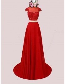 Awesome capped red lace two pieces red crystals beaded accent high collar illusion back prom dresses  SB-063