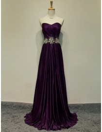 Awesome sweetheart eggplant purple bridesmaid dresses swarovski beaded waistline SB-066