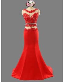 Awesome jewel neckline red lace appliques illusion mermaid prom dress SB-077