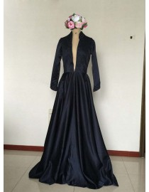 Sexy deep cut v-neck black satin long sleeves prom dress SB-084