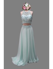 Sexy halter two pieces mint green prom dress SB-085