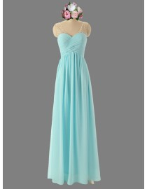 Awesome sweetheart Tiffany blue chiffon bridesmaid dresses illusion strap SB-087