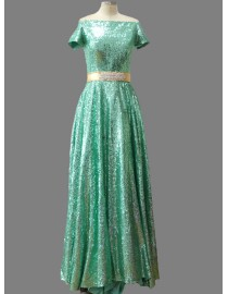 Gorgeous off shoulder sequins sparkly green bridesmaid dresses SB-110