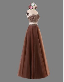 Sexy sweetheart two pieces chocolate prom dress SB-114