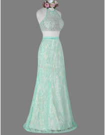 Awesome halter lighter cyan two pieces lace beaded prom dress SB-115