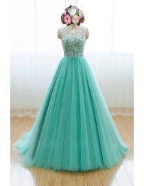 Awesome halter lighter turquoise blue lace prom dress SB-101