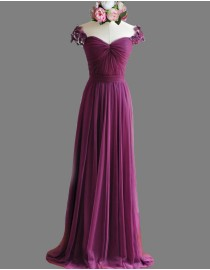 Awesome sweetheart capped purple tulle bridesmaid dresses sequins beaded SB-106