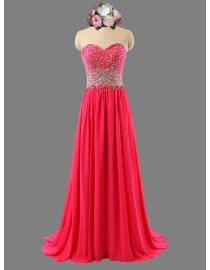 Awesome sweetheart rhinestones beaded hot pink prom dress SB-108