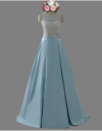 Awesome halter rhinestones sequins beaded accent baby blue prom dress SB-117