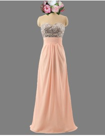 Awesome sweetheart swarovski beaded peach pink bridesmaid dresses SB-118