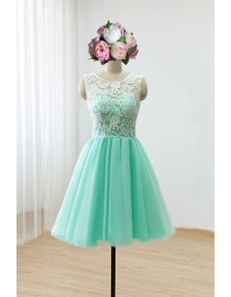 Awesome halter lighter turquoise blue lace prom bridemaid dress SB-123